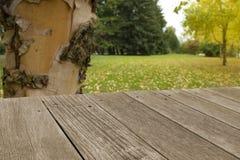 Tabla vacía del tablero de madera delante del fondo borroso Imagen de archivo libre de regalías