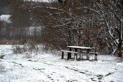 Tabla y banco de madera en el bosque debajo de la nieve imagen de archivo libre de regalías