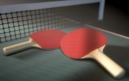 Tabla y paletas de los tenis de mesa Fotografía de archivo libre de regalías