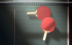 Tabla y paletas de los tenis de mesa Foto de archivo libre de regalías