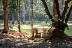 Tabla y sillas en césped del parque nacional Fotos de archivo
