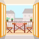 Tabla y sillas en el balcón Fotografía de archivo libre de regalías