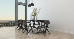 Tabla y sillas modernas en comedor escaso Imagen de archivo