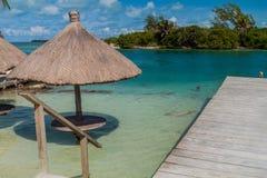 Tabla y un parasol en un agua en la isla del calafate de Caye, Beli fotos de archivo