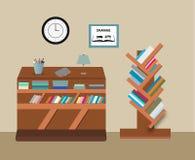 Tablas de la biblioteca y de lectura libre illustration
