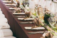 Tablas de la boda fijadas Foto de archivo