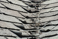 Tablas malas y que se encrespan viejas del tejado en una casa o un hogar Imágenes de archivo libres de regalías