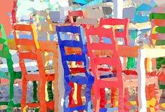 Tablas y sillas en un pequeño café del aire abierto ilustración del vector