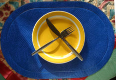 Table 005. A detail of a table before eating Stock Photography
