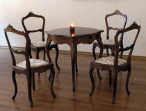Table. Suite art nouveau: table and four chairs Stock Images