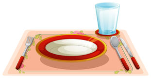 Table. Illustration of a set table Stock Photography