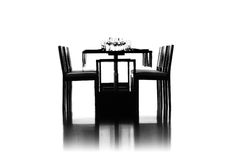 Table. Spacious Dining Room has dark wood table, six chairs on white background Stock Image