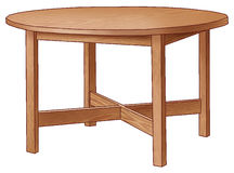 Table. Round brown table with four legs Stock Images