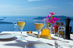 Table above sea for two. Royalty Free Stock Images