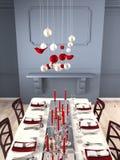 Table admirablement mise pour le réveillon de Noël rendu 3d Photo stock