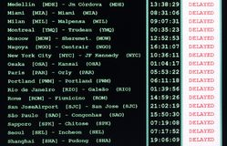 Table of the airport timetable with all the canceled flights. Due to the strike of air traffic controllers royalty free stock photography
