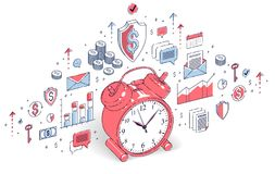 Table Alarm Clock isolated on white background, timeline, busine. Ss deadline, time is money concept. Vector 3d isometric business illustration with icons, stats Stock Photos
