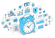 Table Alarm Clock isolated on white background, timeline, busine. Ss deadline, time is money concept. Vector 3d isometric business illustration with icons, stats Stock Image