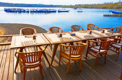 Free Table And Chairs Before Pool In The Evening Royalty Free Stock Images - 18133329