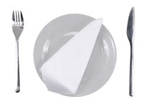 Table appointment-dishware on white background. Royalty Free Stock Photography