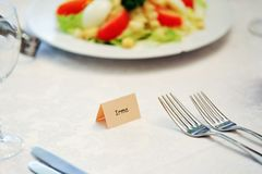 Table appointments for dinner Stock Image