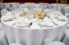 Table appointments for dinner in restaurant Stock Photography