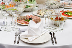 Table appointments for dinner in restaurant Stock Photo