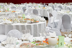 Table appointments for dinner in restaurant Royalty Free Stock Image
