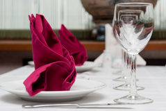 Table appointments in restaurant Royalty Free Stock Images