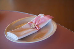 Table appointments in restaurant. Wedding preparation Stock Photos