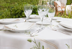 Table arangement for garden banquet Royalty Free Stock Images