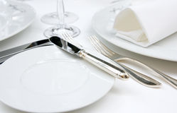 Table arrangement. In very expensive haute cuisine restaurant Royalty Free Stock Photography