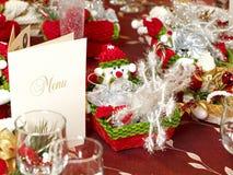 Table arrangement. A table arrangement for a Christmas party stock photos