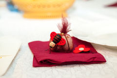 Table arrangement with baptismal confirmation Stock Images