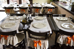 Table arrangement for dinner Royalty Free Stock Photography