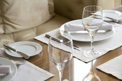 Table arrangement in expensive restaurant Stock Image