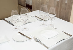 Table arrangement in expensive restaurant Royalty Free Stock Images