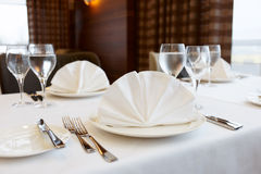 Table arrangement in an expensive restaurant Stock Image