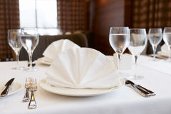 Table arrangement in an expensive restaurant Stock Photo