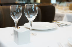 Table arrangement in an expensive restaurant Stock Photos