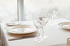 Table arrangement in an expensive restaurant Stock Images