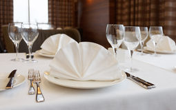 Table arrangement in an expensive restaurant Royalty Free Stock Photography