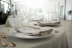 Table arrangement ready for dinner stock image