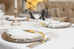 Table arrangement in a restaurant Stock Images