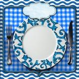 Table Arrangement for Seafood Menu Stock Photo