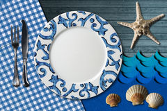 Table Arrangement for Seafood Menu Royalty Free Stock Images