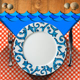 Table Arrangement for Seafood Menu Stock Photography
