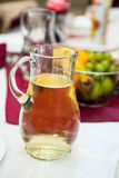 Table arrangement with wine glasses and caraffe Stock Photo