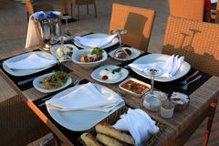 Table with assorted meze Stock Photos