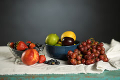 Table with Fresh Produce. Table with assortment of fresh fruits stock photo